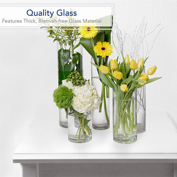"Cylinder Shape Clear Flower Glass Vase  5.0"" W x 10.0"" H"