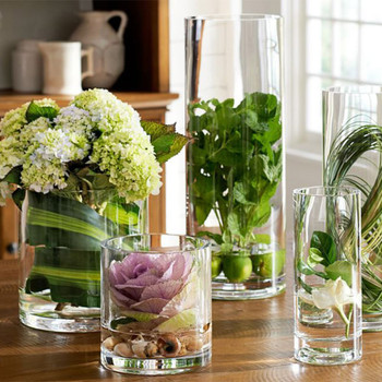 "Cylinder Shape Clear Flower Glass Vase  5.0"" W x 12.0"" H"