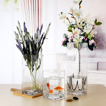 "Rectangle Shape Clear Glass Vase  3.0"" W x 8.0"" H"