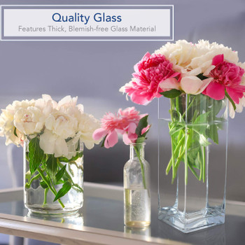 "Rectangle Shape Clear Glass Vase  4.0"" W x 12.0"" H"