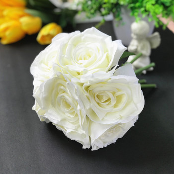 Cream Artificial Open Rose Silk Flower Arrangement set of 2