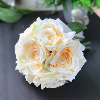 Blush Artificial Open Rose Silk Flower Arrangement set of 2