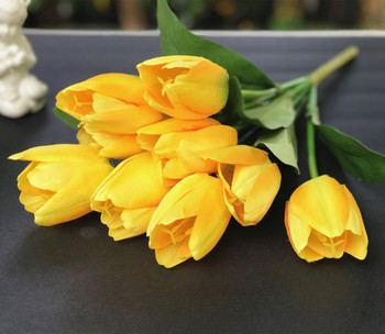Artificial Yellow Tulip Silk Flower Arrangement set of 2