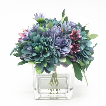 Blue Silk Daisy and Mixed Flower Arrangements in Clear Glass Vase with Acrylic Water