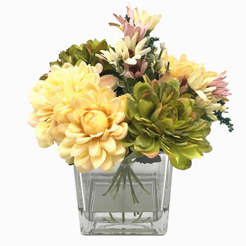 Yellow and Green Silk Daisy and Mixed Flower Arrangements in Clear Glass Vase with Acrylic Water