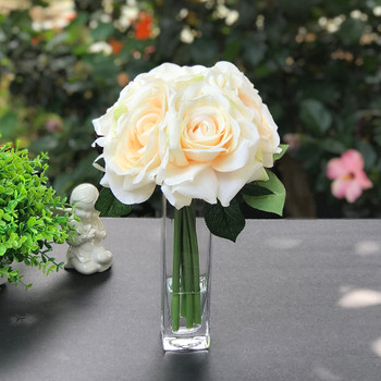 Blush Open Rose Silk Flower in Clear Glass Vase with Faux Water