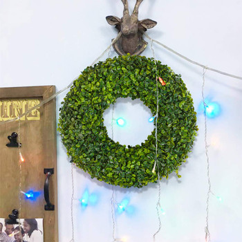 "17"" Natural Garlands Front Door  Artificial Boxwood Green Leaves Hanging Wreath for Indoor Outdoor  Decoration"