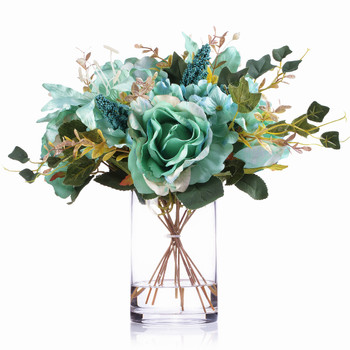 Aqua Mixed Rose Lily and Hydrangea Silk Flower Arrangement  in Clear Glass Vase with Faux Water
