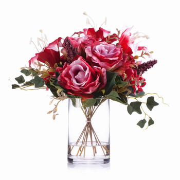 Red Mixed Rose Lily and Hydrangea Silk Flower Arrangement  in Clear Glass Vase with Faux Water