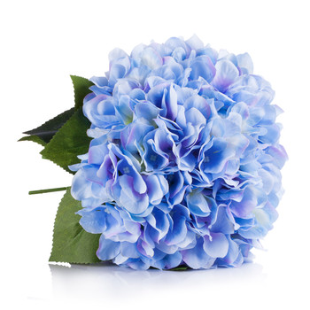 Blue Silk Hydrangea Flower Arrangement in Clear White Vase with Faux Water