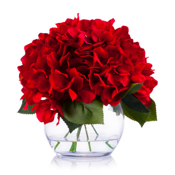 Red Silk Hydrangea Flower Arrangement in Clear White Vase with Faux Water