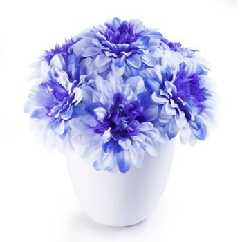 Blue Faux Dahlia Flower Arrangement in White Pot