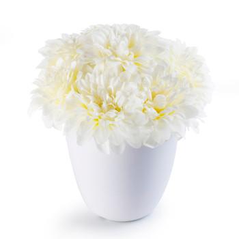 Cream Faux Dahlia Flower Arrangement in White Pot