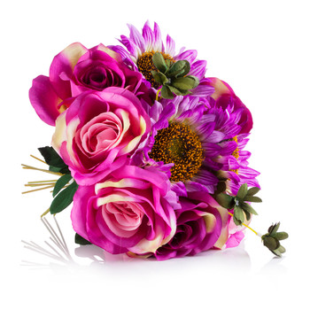 Pink and Purple Silk Rose and Sunflower Mixed Arrangement in Clear White Vase with Faux Water