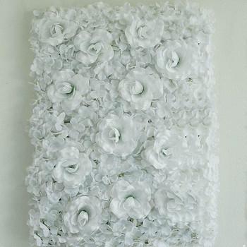 4 Pack 11 Sq ft. UV Protected 3D White Silk Rose & Hydrangea Flower Wall Mat Panel