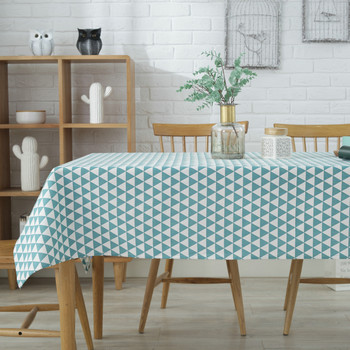 "54""x 80"" Green Triangle Pattern Rectangle Cotton and Polyester Tablecloth"