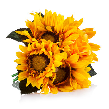6 Heads Yellow Mixed Sunflower and Rose Silk Flower Arrangement in Clear Glass Vase With Faux Water