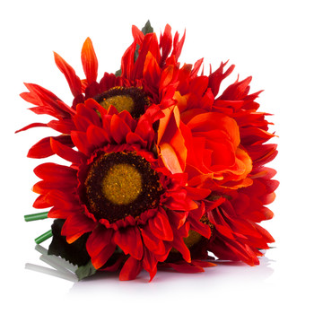 6 Heads Orange Red Mixed Sunflower and Rose Silk Flower Arrangement in Clear Glass Vase With Faux Water