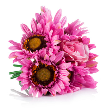 6 Heads Pink Mixed Sunflower and Rose Silk Flower Arrangement in Clear Glass Vase With Faux Water