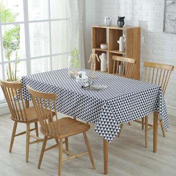 "54""x 80"" Blue Triangle Pattern Rectangle Cotton and Polyester Tablecloth"