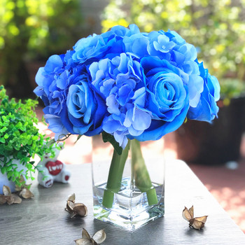 Blue Rose and Hydrangea Mixed Faux Flower Arrangement With Clear Glass Vase