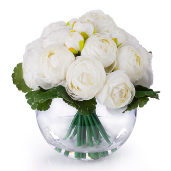 Cream Artificial Ranunculus Flower Arrangement in Clear Glass Vase With Faux Water