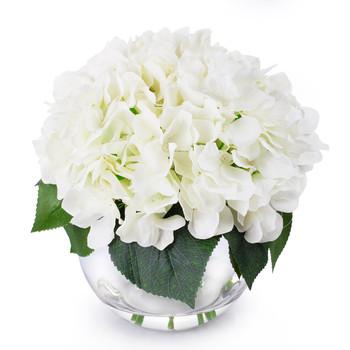 Cream Hydrangea Flower Arrangement in Clear Glass Vase With Faux Water