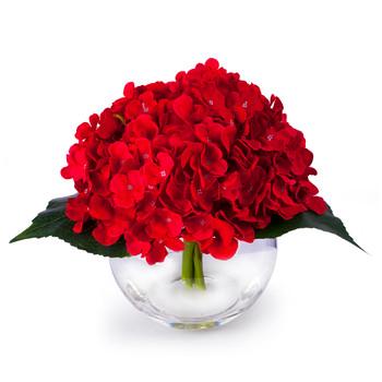 Red Silk Hydrangea Flower Arrangement in Clear Glass Vase With Faux Water