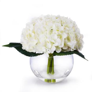 Cream Silk Hydrangea Flower Arrangement in Clear Glass Vase With Faux Water