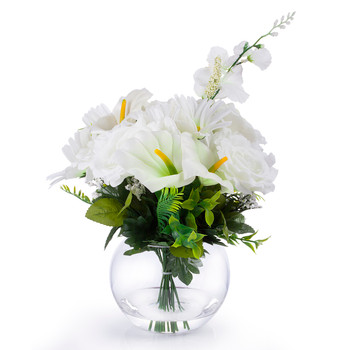 Cream Silk Rose Lily Flower Arrangement in Clear Glass Vase With Faux Water