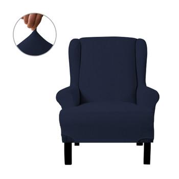 Dark Blue Ultra Soft Stretch Fabric  Wing Chair  Slipcover