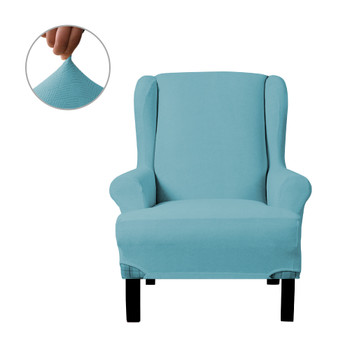 Steel Blue Ultra Soft Stretch Fabric  Wing Chair  Slipcover