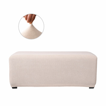 Ivory White Ultra Soft Stretch Fabric Oversize Ottoman Slipcovers Removable  Anti-Dirty Fitted Furniture Protector