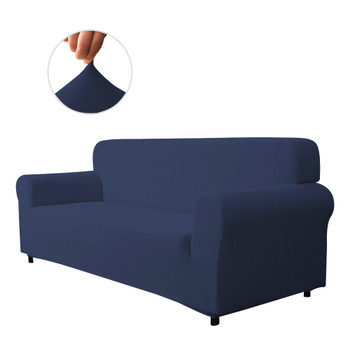 Dark Blue Ultra Soft Stretch Fabric Sofa Slipcovers Removable  Anti-Dirty Fitted Furniture Protector