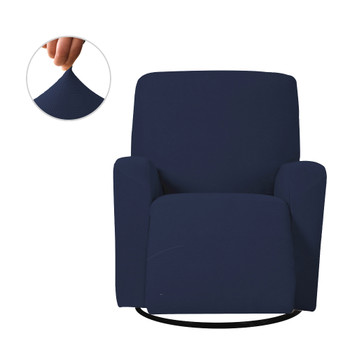 Dark Blue Ultra Soft Stretch Fabric  Recliner Slipcover with Elastic Bottom Side Pocket