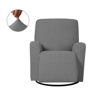 Grey Ultra Soft Stretch Fabric  Recliner Slipcover with Elastic Bottom Side Pocket
