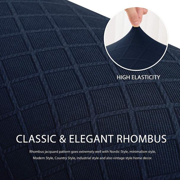 Dark Blue Ultra Soft Rhombus Jacquard Polyester Spandex Fabric Box Cushion Sofa Slipcover