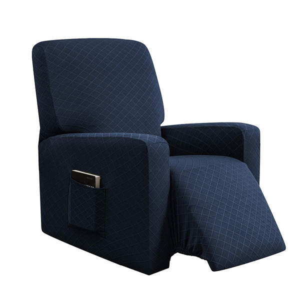 Dark Blue Ultra Soft Rhombus Stretch Fabric  Recliner Slipcover with Elastic Bottom Side Pocket