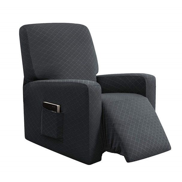 Grey Ultra Soft Rhombus Stretch Fabric  Recliner Slipcover with Elastic Bottom Side Pocket
