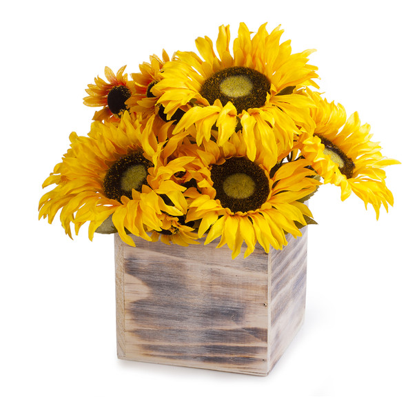Mixed Sunflower Arrangement With Natural Wood Planter