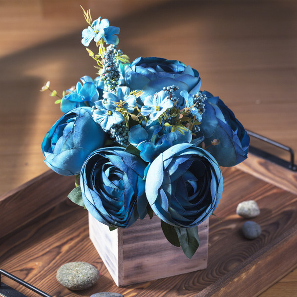 Blue Mixed Peony Flower Arrangement in Natural Wood Planter