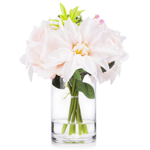 Mixed Silk Rose and Dahlia  Flower Arrangement in Clear Glass Vase With Faux Water(Blush)