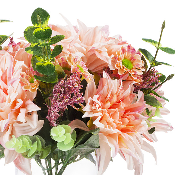 Mixed Artificial Dahlia Flower and Eucalyptus Grass Arrangement in Clear Glass Vase With Faux Water(Pink)