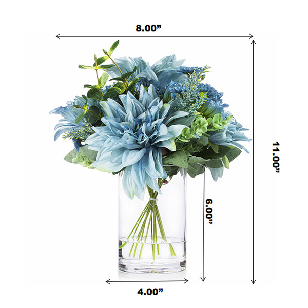 Mixed Artificial Dahlia Flower and Eucalyptus Grass Arrangement in Clear Glass Vase With Faux Water(Blue)