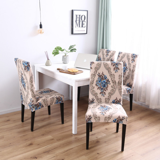 Brown Pattern Elegant Polyester and Spandex Stretch Washable Dining Chair Slipcover Chair Cover