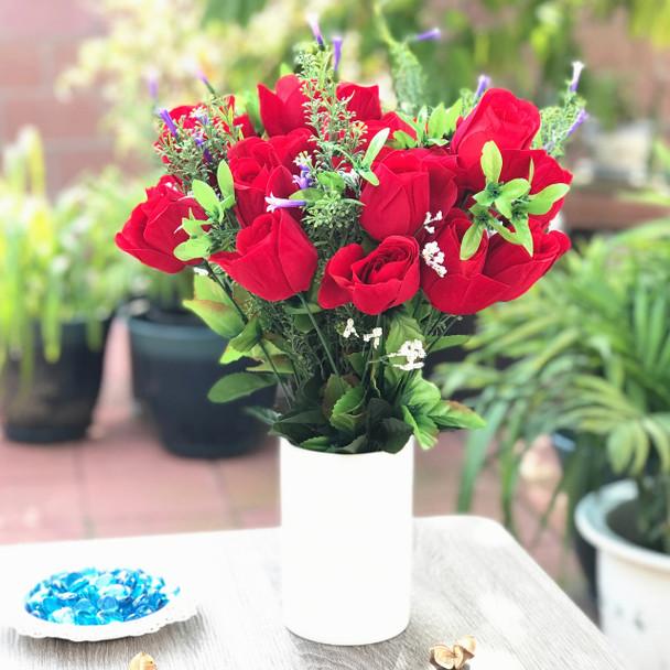Red Velet Open Rose Faux Flower Arrangement With White Ceramic Vase Enova Home