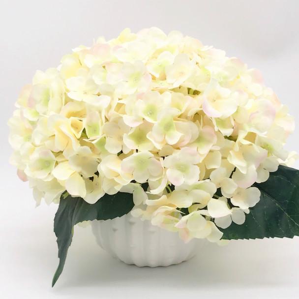 Blush Artificial Hydrangea Flower Arrangement With White Ceramic Vase Enova Home