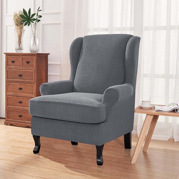 Light Grey Stretch Jacquard Spandex Fabric T-Cushion Wingback Slipcover