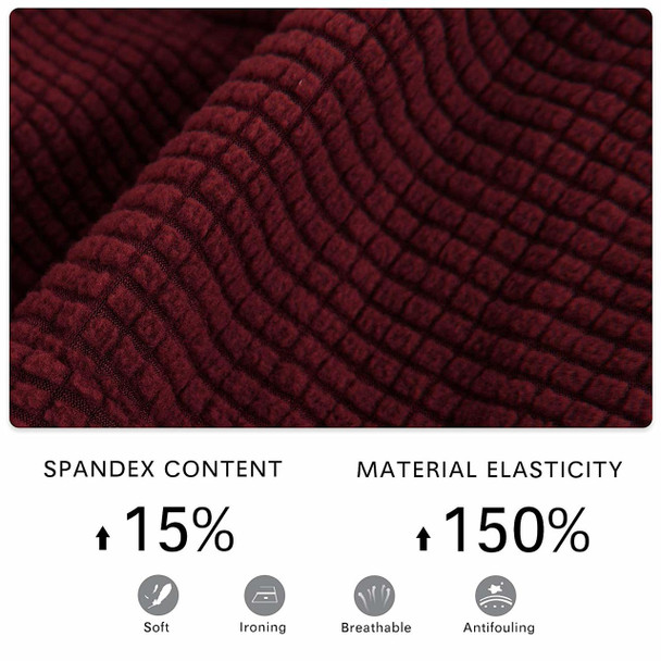 Wine Red Jacquard Polyester Stretch Fabric  Oversized Ottoman Slipcover