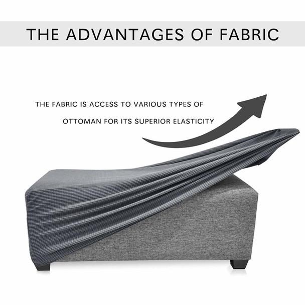 Denim Blue Jacquard Polyester Stretch Fabric  Oversized Ottoman Slipcover